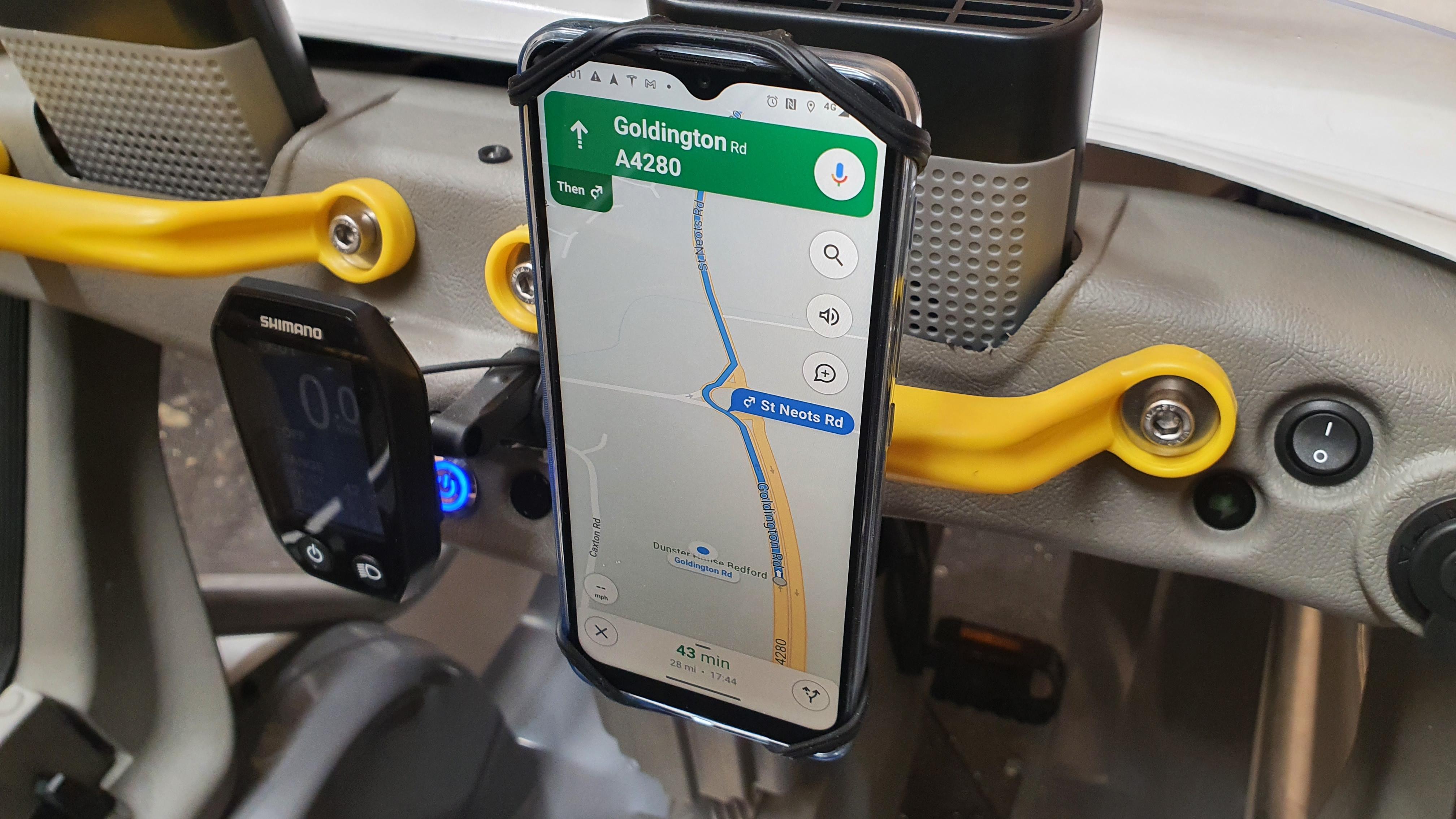 Phone Mount on Yellow Handle