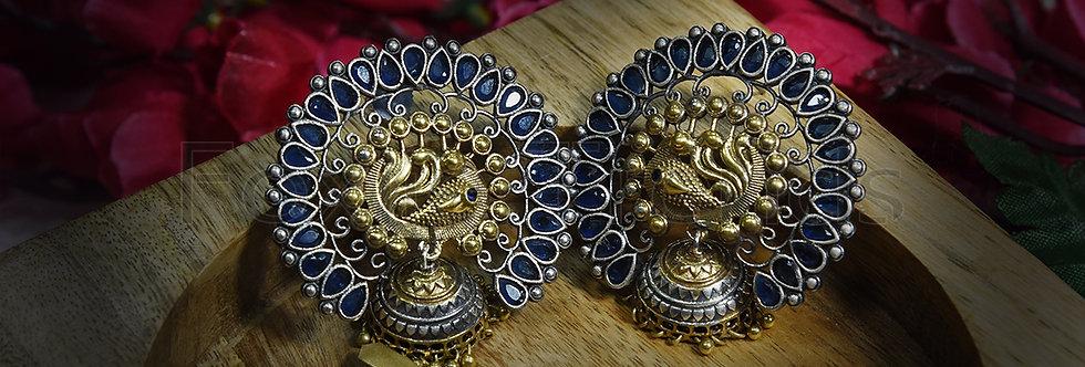 Dual Tone peacock jhumkas with blue stone