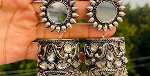 Mirror Cylinder jhumkas with white beads