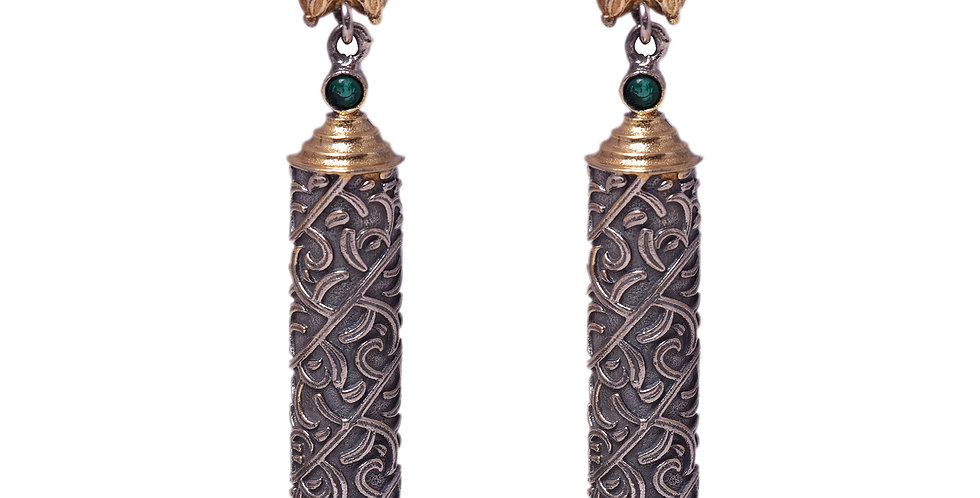 Pillar style earrings with green stone