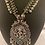 Thumbnail: Long chain with Lakshmi pendant and Green, pink and blue stone
