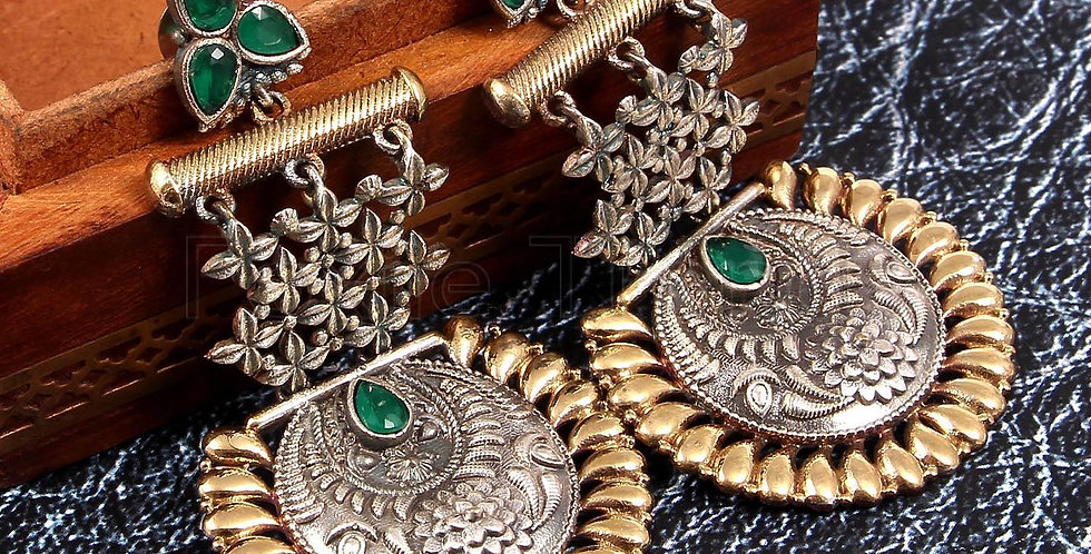 Dual Tone earrings- Green