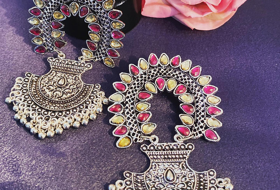 Yellow and pink earrings