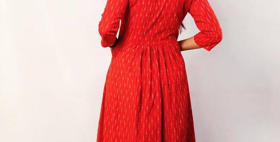 Red ikat dress with pocket