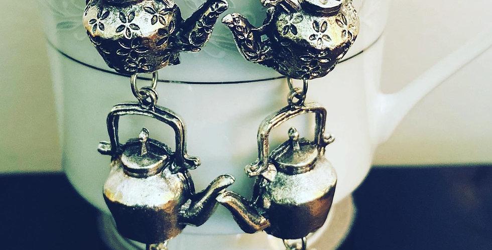 OxidisedGerman silver teapot earrings