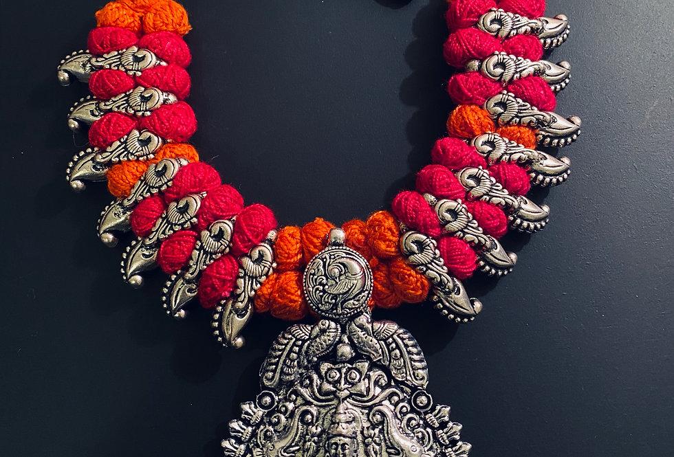 Vibrant orange and pink thread necklace set