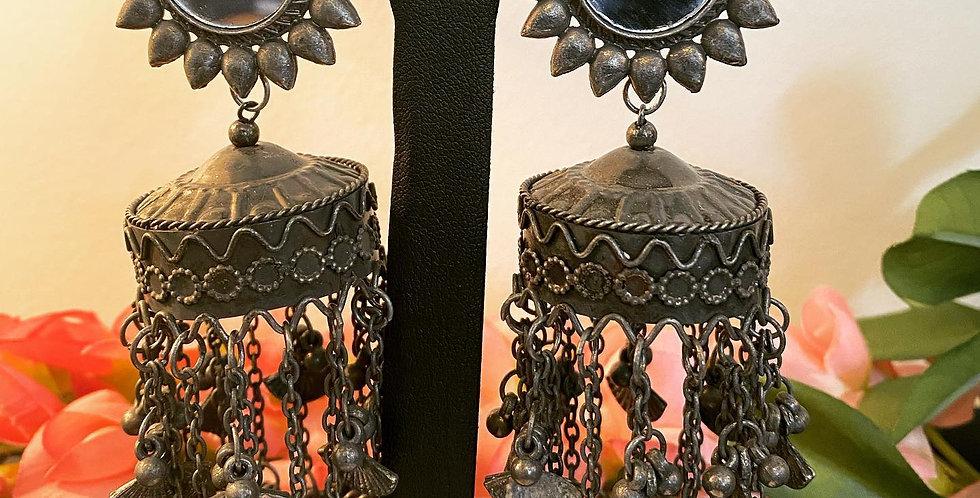 Black metal long earrings