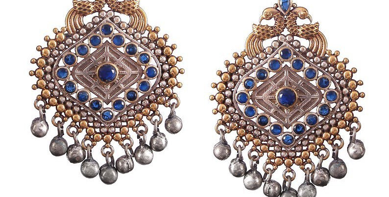 Peacock earrings with blue stones