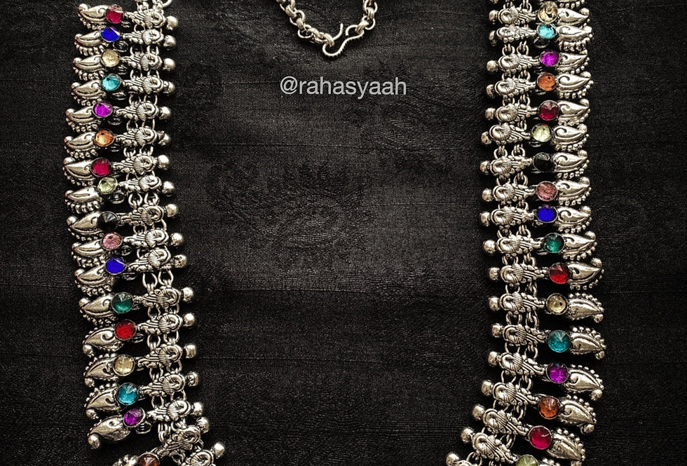 Silver necklace with multicolour stones