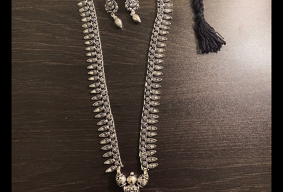Long necklace set with square pendant and matching earrings