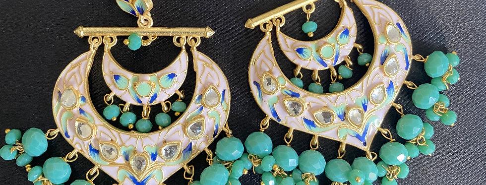 Meenakari Earrings in Aqua/Teal
