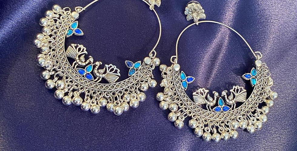Beautiful peacock loop earrings with blue stone