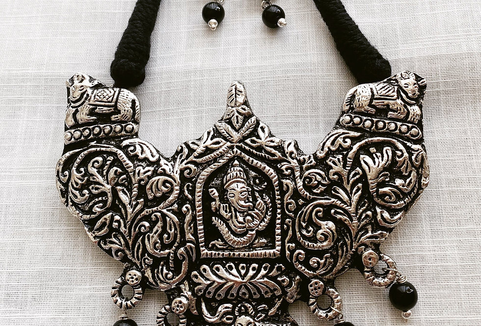 Black thread necklace set with Ganesha
