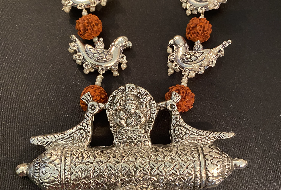 Long chain with rudraksha style beads and earrings