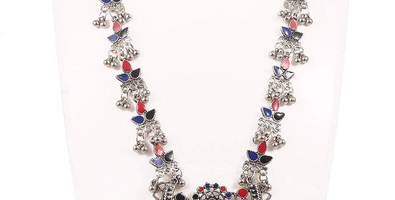 Afghani necklace with red and blue enamel