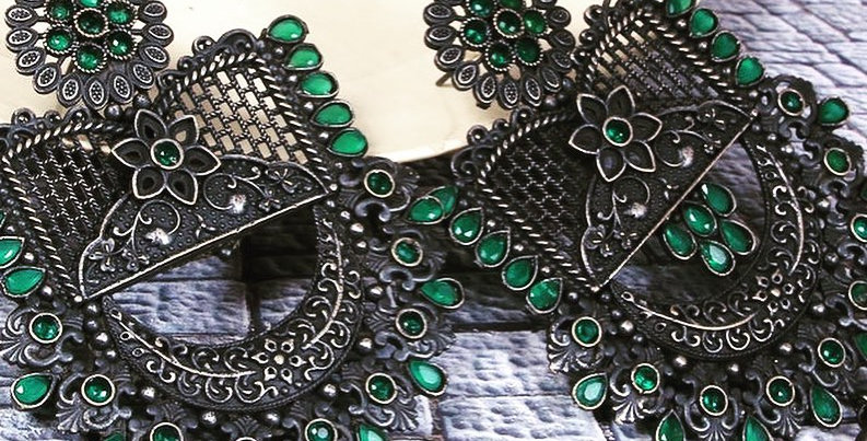 Oxidised silver Earrings- Green
