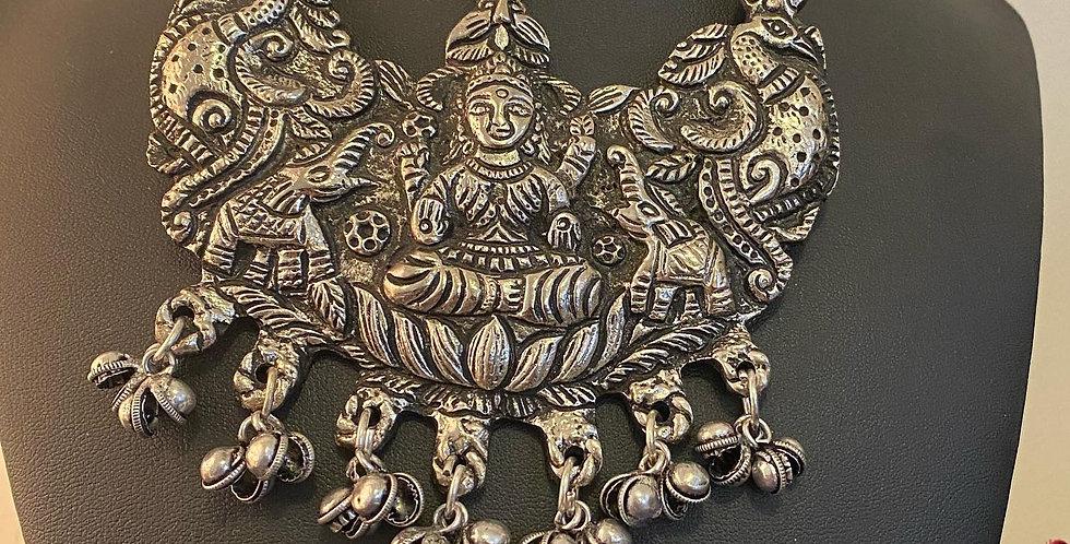 Long Lakshmi necklace with black dori