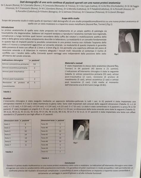 Gruppo di studio sulla protesi di Spalla Ascend Flex, Sicseg di Riccione