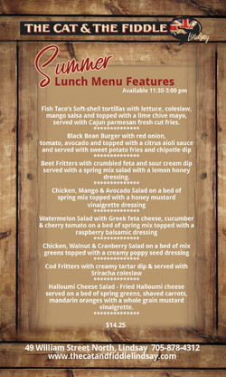 SUMMER LUNCH FEATURES