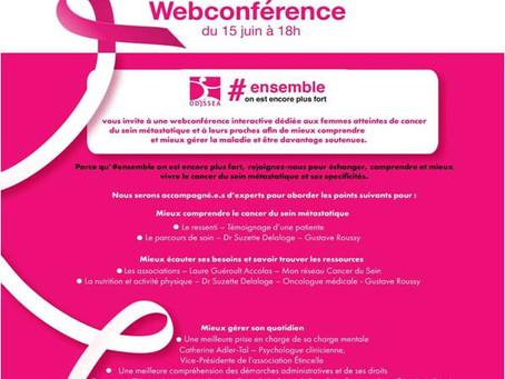 Aujourd'hui 15 juin : webconférence dédiée aux femmes touchées par le cancer du sein métastatique