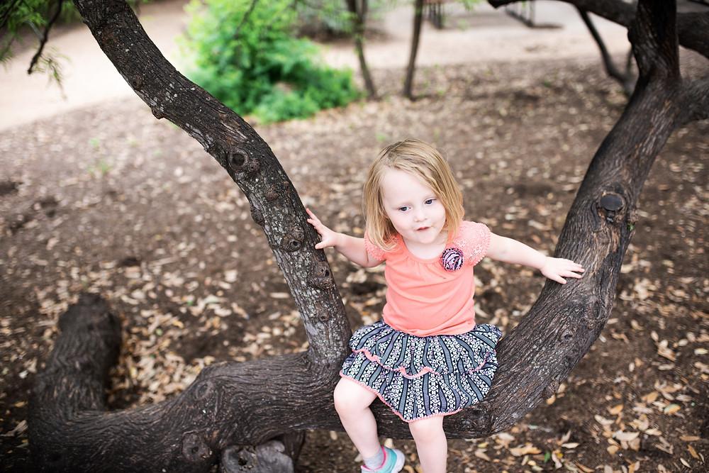 toddler tree climbing