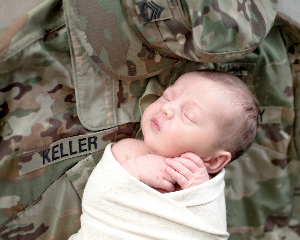 baby on army uniform