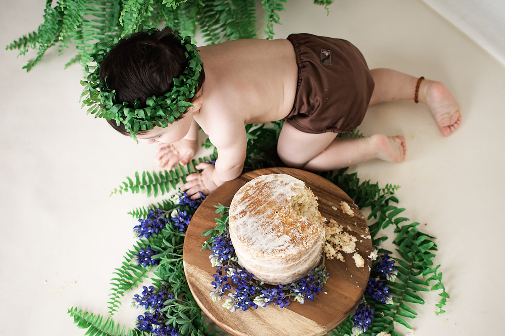 baby crawling by cake