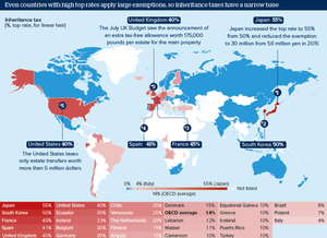 Word map showing countries with high tax rates for inheritance tax.