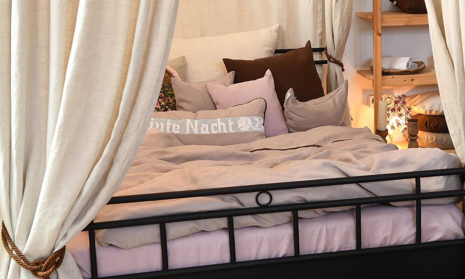 Bettwäsche aus reinem Leinen Natur rose
