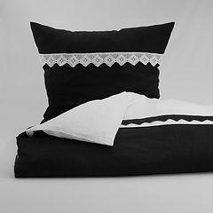 erotische Leinen Bettwäsche schwarz weiss