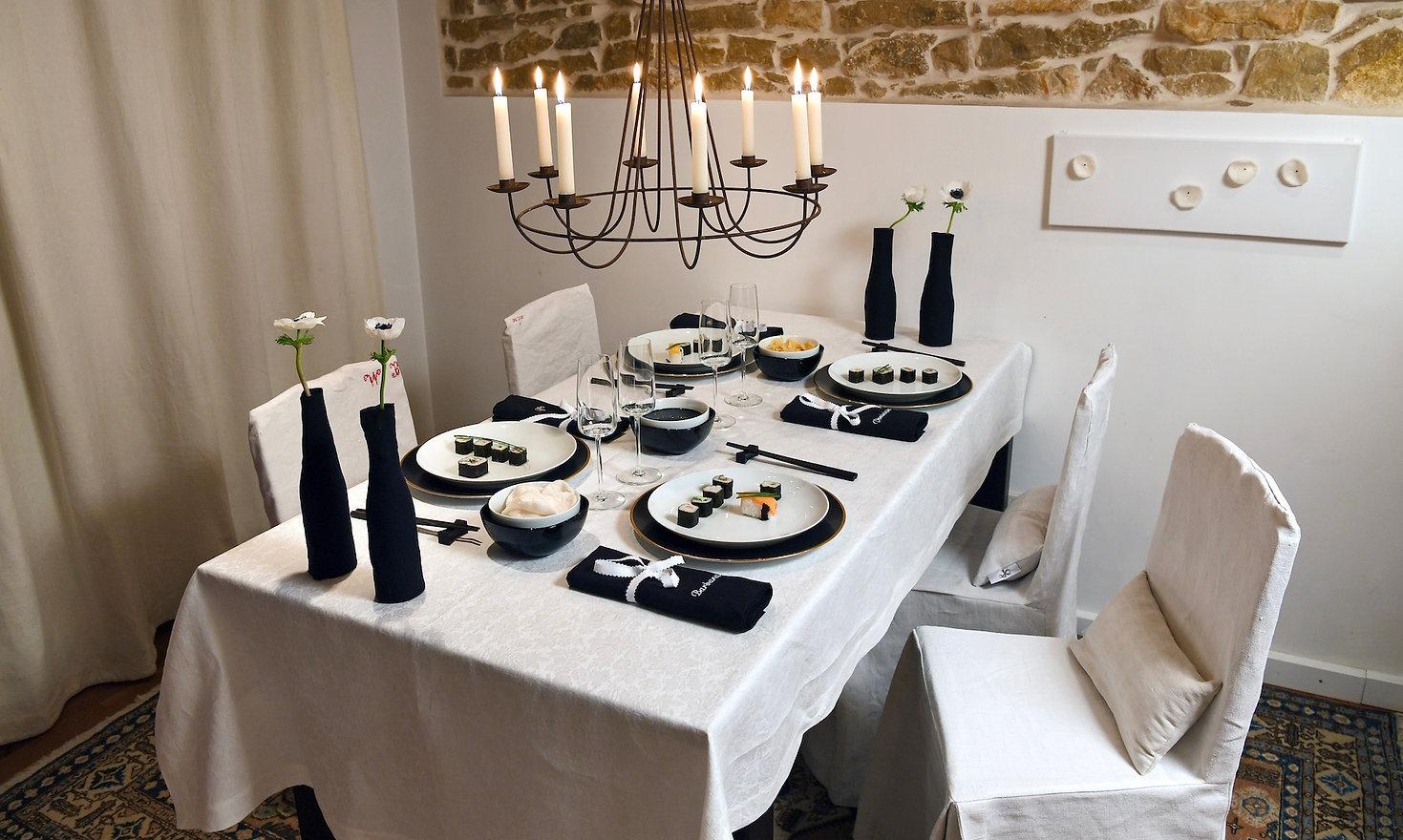 Tischdeko schwarz weiß aus Leinen