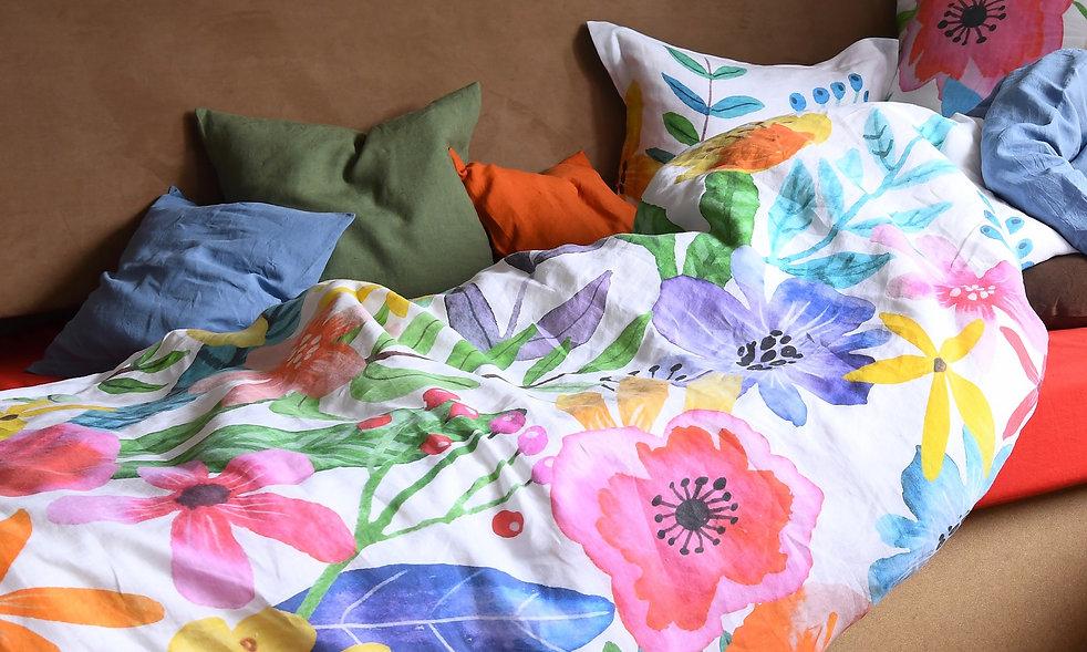 Bettwäsche Leinen große Blumen