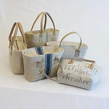 Handtasche aus altem Leinen