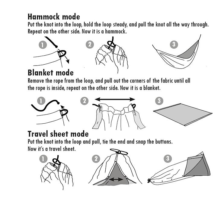 Hammock mode blanket mode Travel sheet m