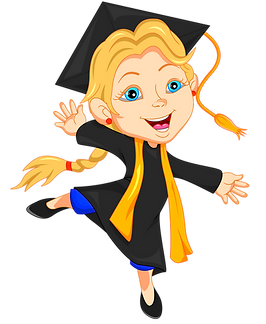 Hopping graduated girl