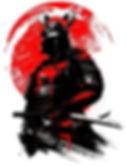 Samurai med sol i bagrund