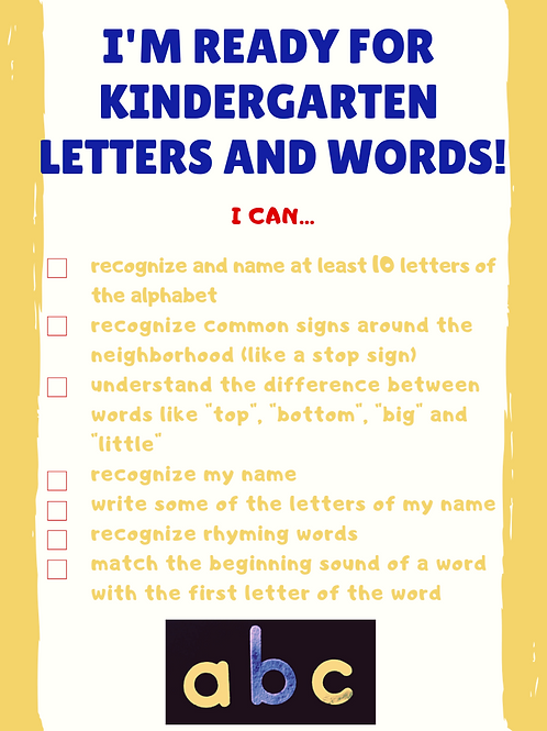 I'm Ready for Kindergarten Letters and Words! FREE DOWNLOAD with code