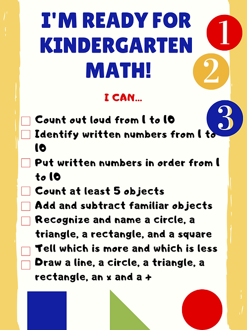 I'm Ready for Kindergarten Math! FREE DOWNLOAD with code