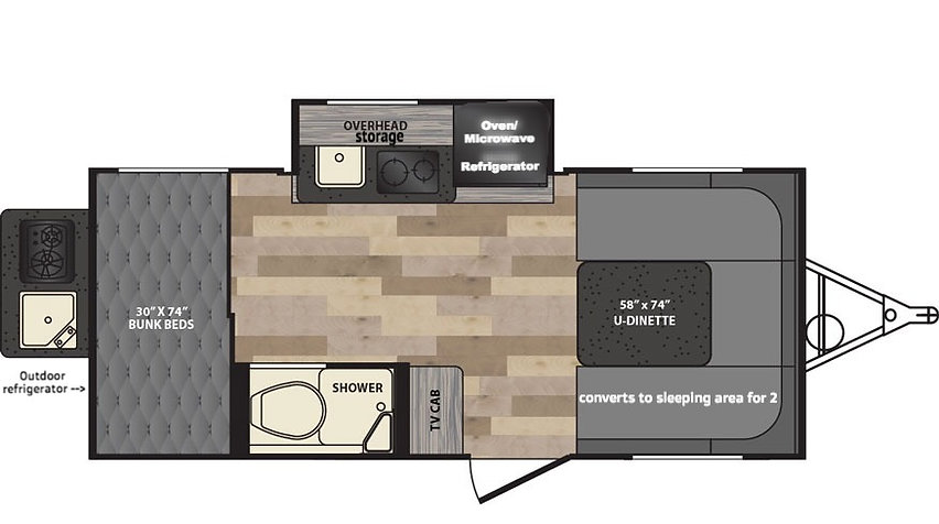 Floorplan of Winnie Drop 170K . NoCo RV Rentals. Glamping floorplan