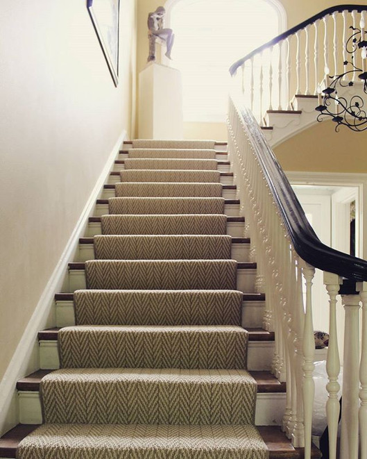 A soft herringbone stair runner brighten