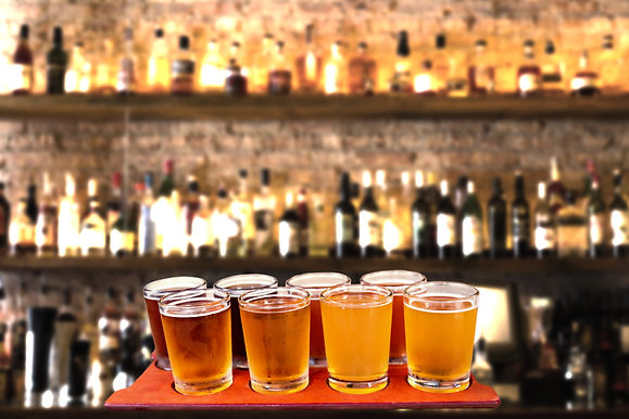 Beer flight of eight sampling glasses of