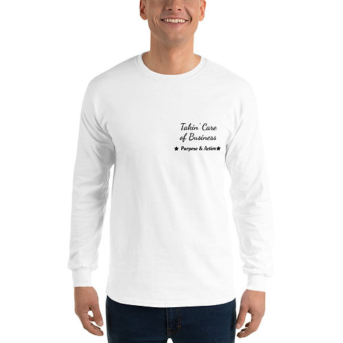 Takin' Care of Business Long-Sleeve Shirt (White)