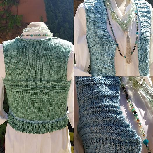 gilet Sheherazade coton bleu et vert tro