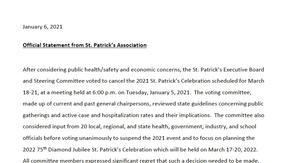 75th Annual St. Patrick's Day Celebration Postponed