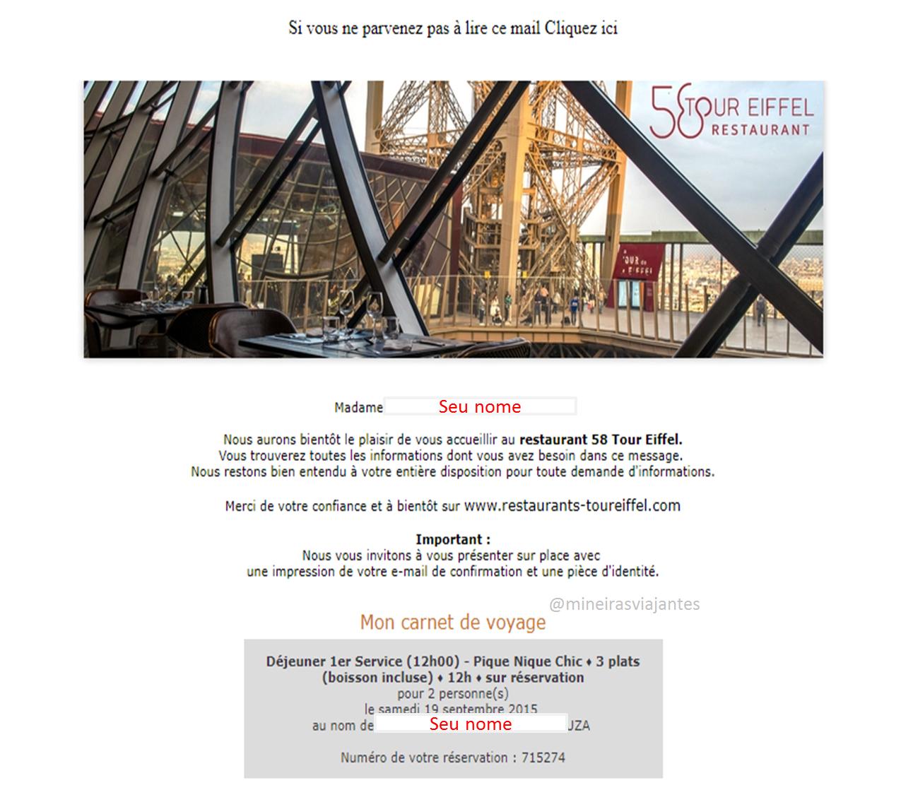 Email confirmação 58 Tour Eiffel