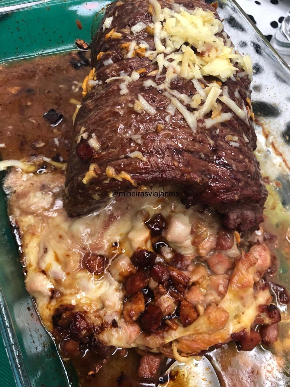 Picanha invertida com queijo e bacon