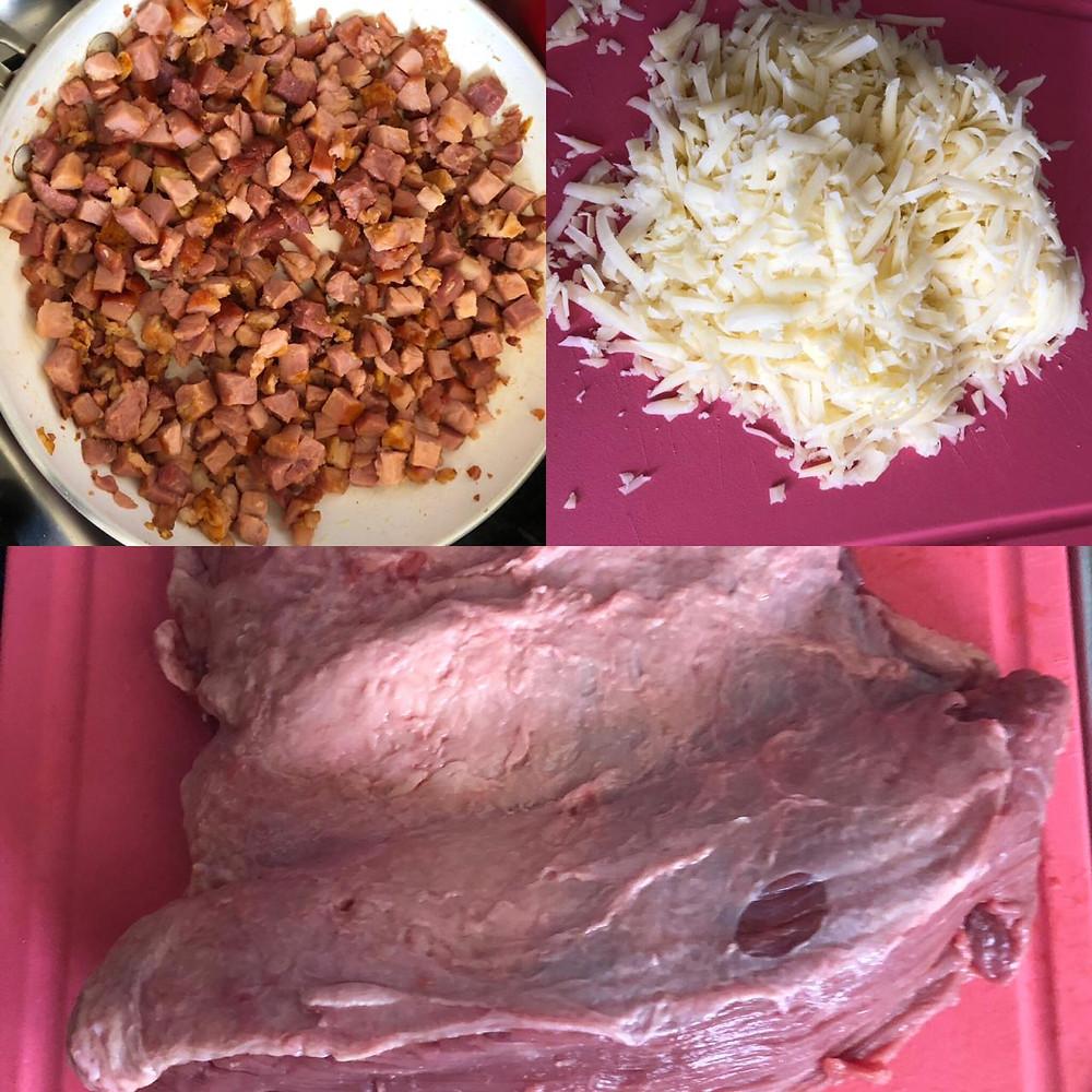 bacon, mussarela ralada e picanha