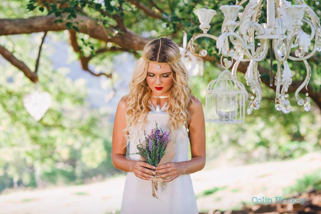 Bohemian bridal hair and makeup