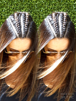 Braids and silky straight blow-dry