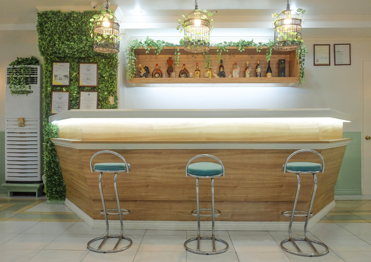 Our newly remodeled counter with high seating, lighted under the array of bird cages.
